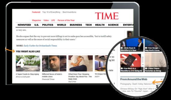 Native ads on Time Magazine